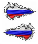 X-Large Long Pair Ripped Torn Metal Design With Russia Russian Flag Motif External Vinyl Car Sticker 300x170mm each